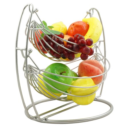 2 Tier Metal Fruit Basket Double Hammock Kitchen Iron Fresh Veggie Produce Storage Baskets Tiered Countertop