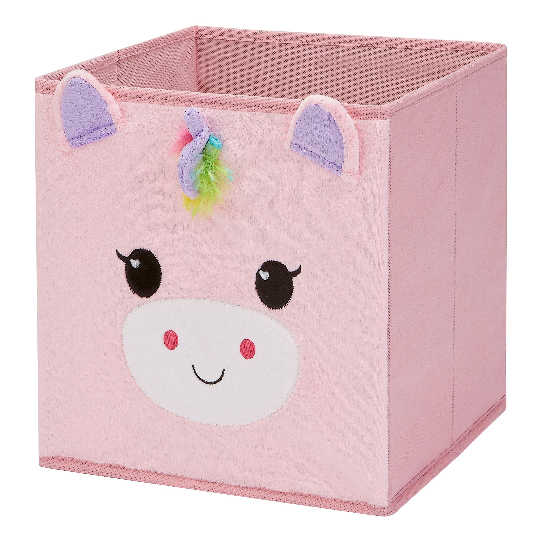 "Mainstays Kids 10.5"" x 10.5"" x 11"" Unicorn Collapsible Storage Bin"