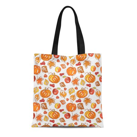 ASHLEIGH Canvas Bag Resuable Tote Grocery Shopping Bags Brown Fall Thanksgiving Autumn Colorful Harvest Pattern Tote Bag