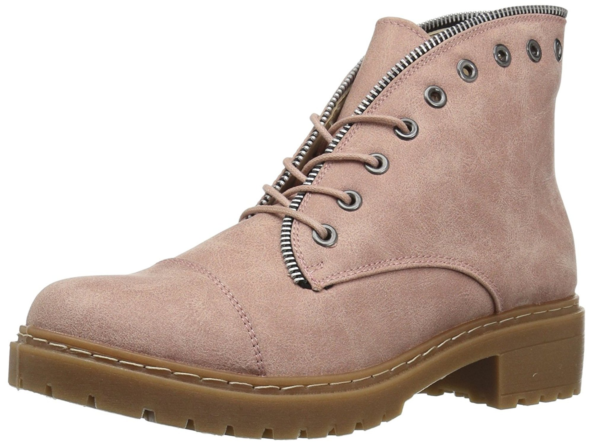 POSTAL-01A Qupid Women/'s Zip Lace Up Combat Boot Ankle Boots