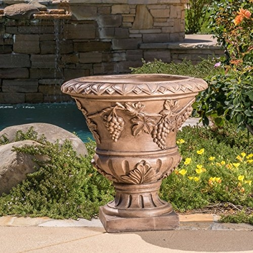 Roman 21-inch Light Brown Urn Planter by Christopher Knight Home by Christopher Knight Home