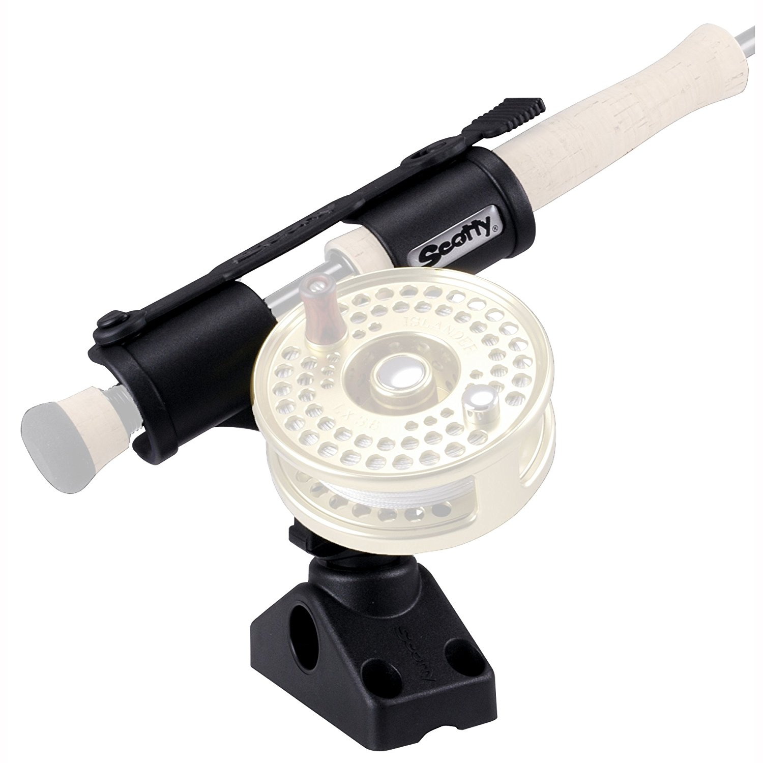 Fly Rod Holder with 241 Side Deck Mount (model 265), New Tube SideDeck Mount Adapter Drink without Hldr 311 Rail model Sports BaitcasterSpinning Rod Wearable.., By Scotty