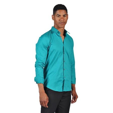 Otb brand mens fitted dress button down shirt for Fitted button up shirts mens