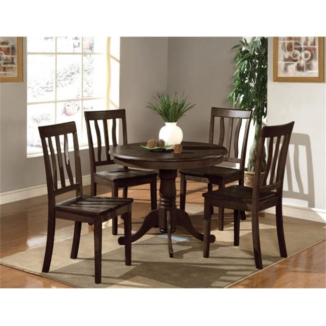 East West Furniture ANTI5-CAP-W 5 PC Antique Round Kitchen 36 in. Table and 4 Chairs with Faux Leather seat