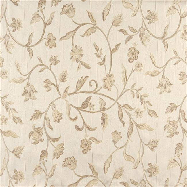 Designer Fabrics K0011D 54 in. Wide Ivory Embroidered, Floral Brocade, Upholstery And Window Treatments Fabric