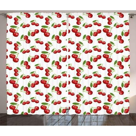 Kitchen Curtains 2 Panels Set, Cherry Pattern Design Fresh Berry Fruit  Summer Garden Macro Digital Print, Window Drapes for Living Room Bedroom,  108W ...