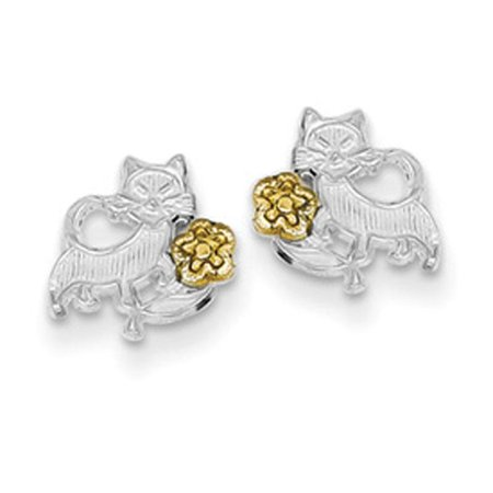 Sterling Silver and Vermeil Cat and Flowers Post Mini -
