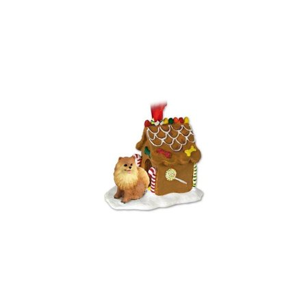 POMERANIAN Dog Red NEW Resin GINGERBREAD HOUSE Christmas Ornament 03A