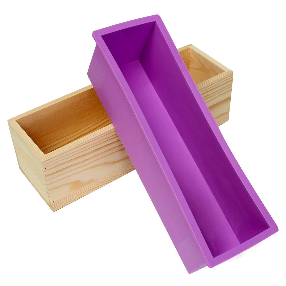 """1200g Loaf Silicone Mold With Wooden Box for Soap Making Biscuit DIY Cake Baking Tools 11.02x3.54x3.23""""... by"""