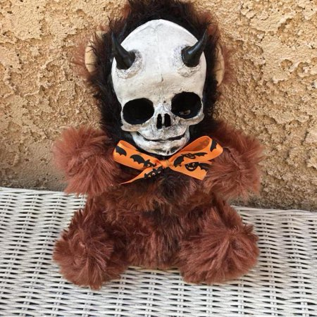 Horned Devil Skull Brown Bear Plush Halloween Bow Creepy Horror Doll by Bastet2329 - Skull Staff