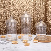 """BalsaCircle Clear 3 pcs 7"""" 9"""" 10"""" tall Glass Apothecary Jars with Lids - Wedding Party Candy Gift Packaging Decorations Supplies"""