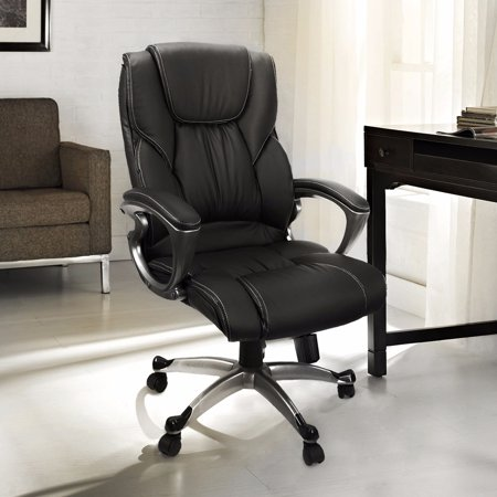 Black Leather Swivel Chair - Executive PU Leather Ergonomic Office Chair with Swivel Lift, Black