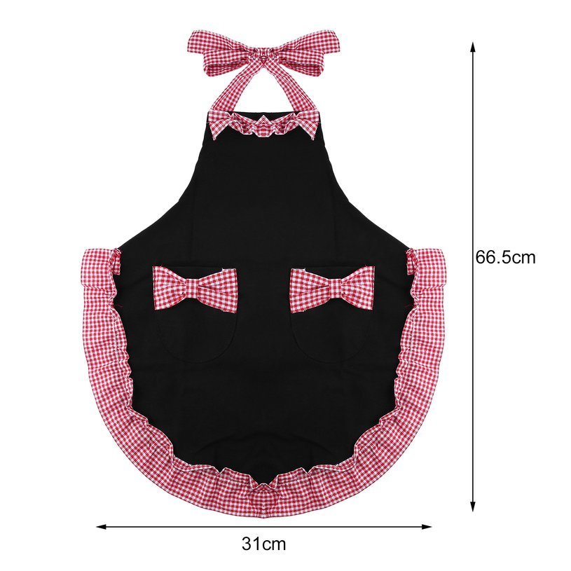 Cotton Blend Women's Apron With 2 Pockets Cute Bowknot Apron Durable Cooking Kitchen Restaurant Bib Dress by