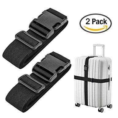 Cloudz Lot 2 Black Adjustable Luggage Straps Suitcase Secure Baggage Check Travel Belt](Secure Check)