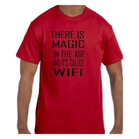 Funny Humor Tshirt There is Magic in the Air WiFi Air Purple Tee