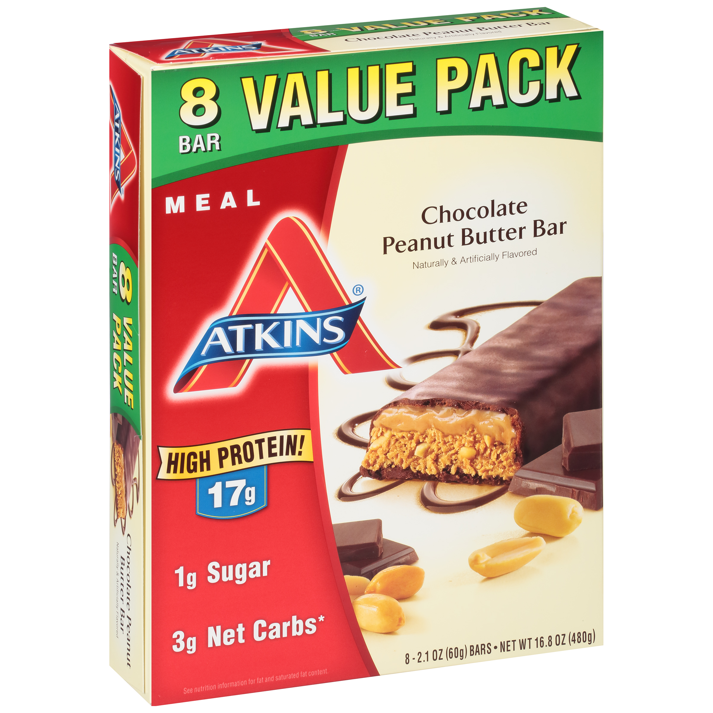 Atkins Meal Chocolate Peanut Butter Bars, 2.1 oz, 8 count