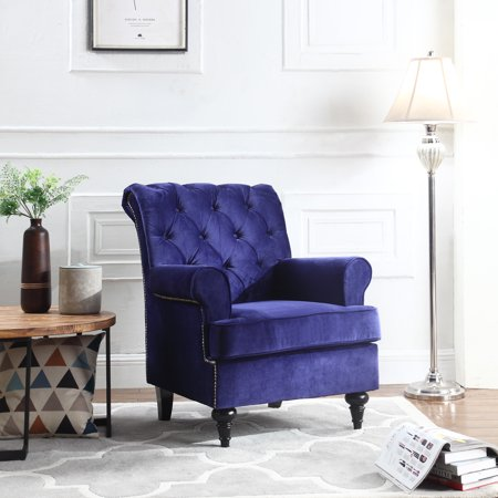 Traditional Tufted Velvet Fabric Accent Chair, Living Room Armchair with  Nailheads, Royal Blue