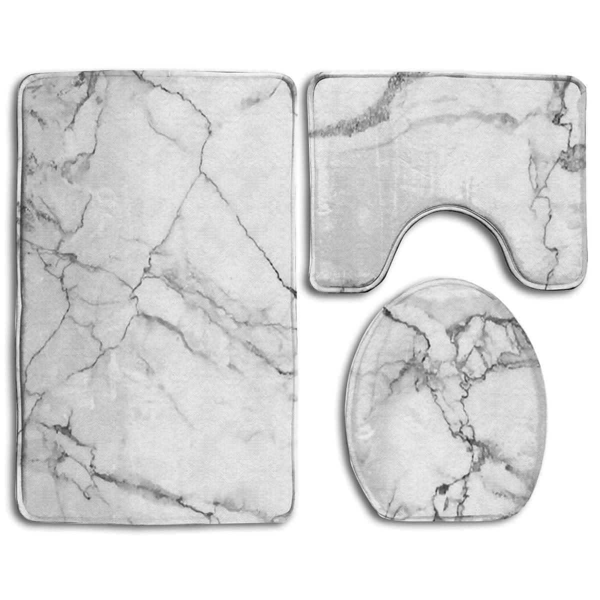 Picture of: Gohao Gray White Marbling Texture 3 Piece Bathroom Rugs Set Bath Rug Contour Mat And Toilet Lid Cover Walmart Com Walmart Com