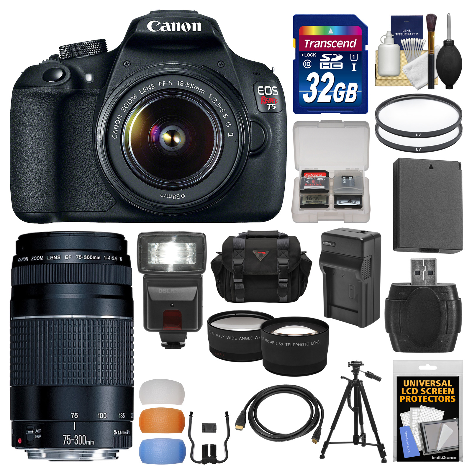 Canon EOS Rebel T5 Digital SLR Camera Body & EF-S 18-55mm IS II with 75-300mm III Lens + 32GB Card + Case + Flash + Battery + Tripod + Kit