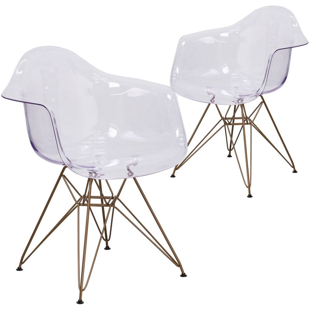 2 Pk. Allure Series Transparent Side Chair with Gold Frame