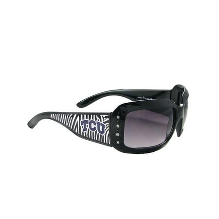 TCU Texas Christian Horned Frogs Womens Black Fashion Sunglasses Zebra S4ZB