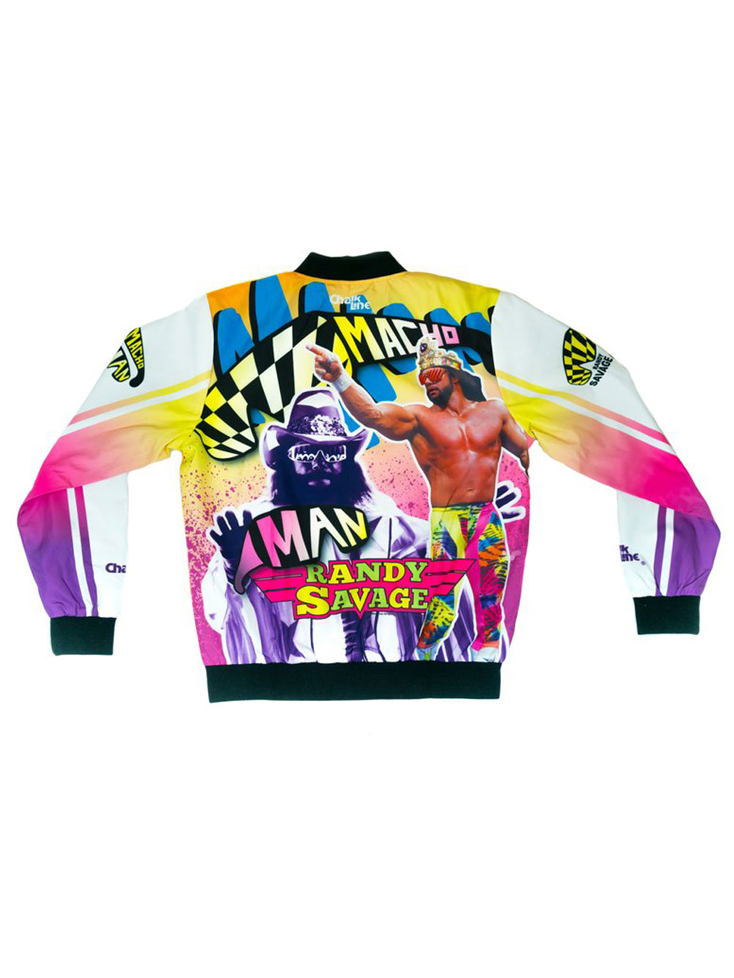 Official WWE Authentic Macho Man Randy Savage Retro Fanimation Chalk Line Jacket by