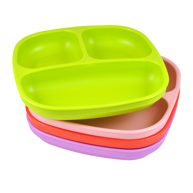 Re-Play Made in USA 4pk Toddler Feeding Divided Plates with Deep Sides for Easy Baby, Toddler, and Child Feeding - Red, Lime, Blush, Bright Pink (Grinchmas/Christmas)