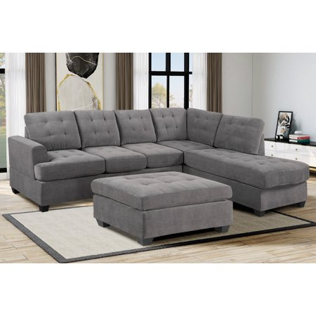 "Clearance! SEGMART 105"" x 79.6"" x 31.5'' 3-piece Tufted Contemporary Sectional Sofa Sets with Reversible Chaise Sofa Storage Ottoman, Mid-Century Sectional Sofas with 2 Pillows, Solid Wood Leg, S1740"