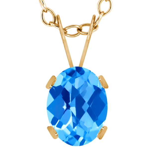 1.30 Ct Oval Checkerboard Swiss Blue Topaz 14K Yellow Gold Pendant