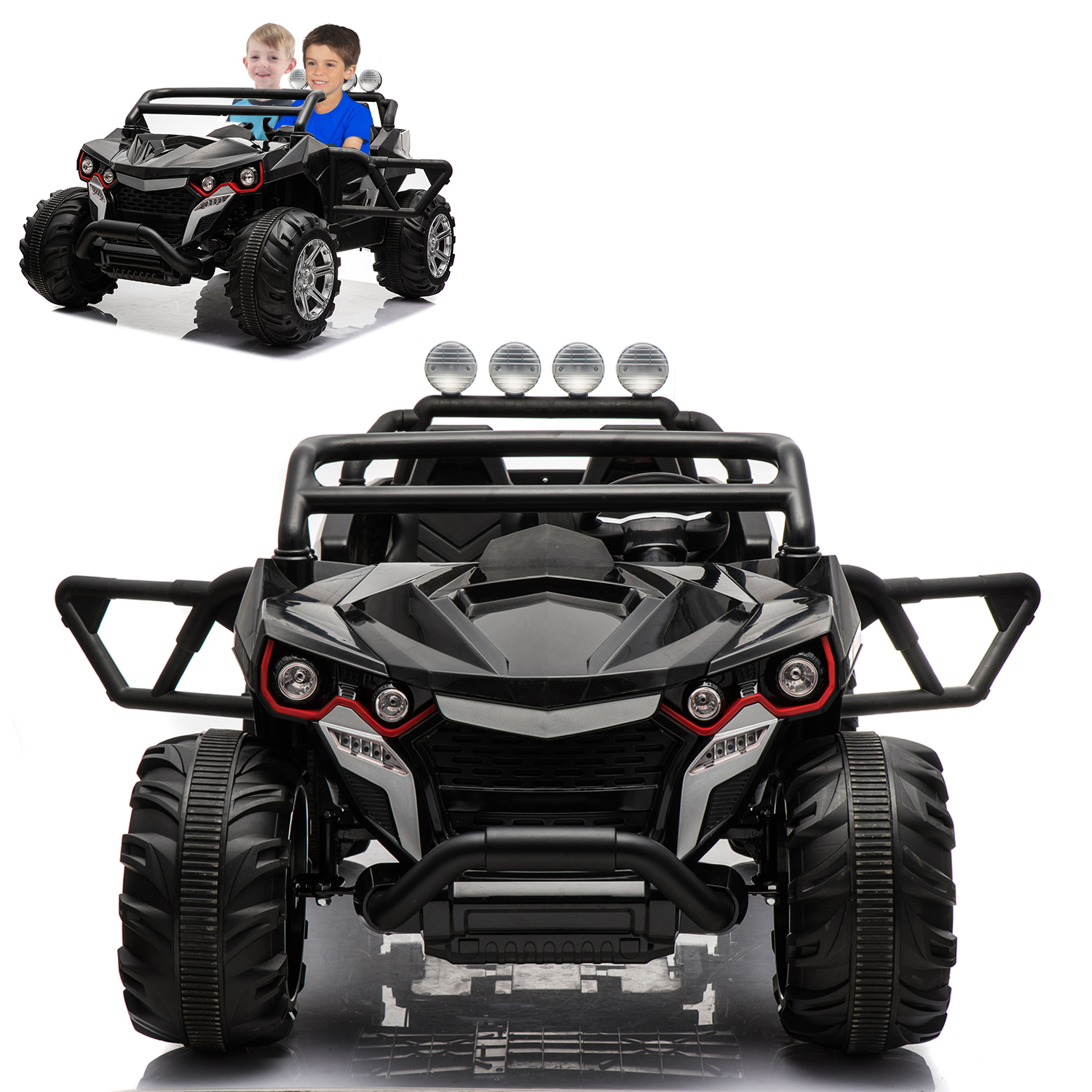 ATV Truck Electric Ride On Car 2 Seats With Remote Control For Kids | 12V Power Battery Kid Car To Drive With 4 Motors, 2.4G Radio Parental Control, Openable Door, EVA Wheel - Black