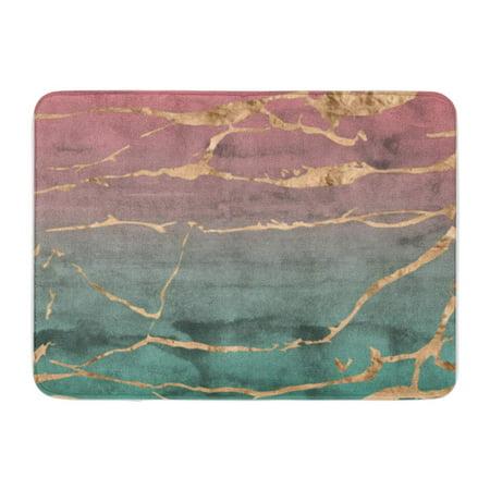 SIDONKU Sliced Marble Design with Rose Gold Metallic Foil Overlaid on Doormat Floor Rug Bath Mat 23.6x15.7 inch