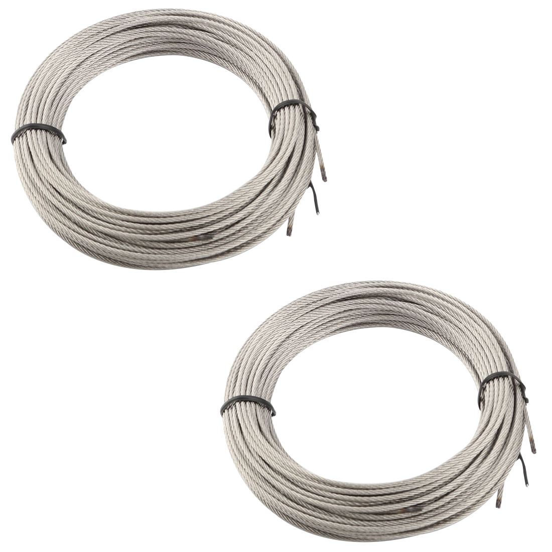 Home Steel Laundry Clothes Drying Hanging Core Rope Silver Tone 7M Length 2 Pcs