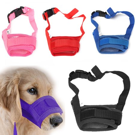 5 Colors Adjustable Pet Dog Breathable Mesh Muzzle Mouth Mask Nylon Anti Bark Chewing (Best Dog Muzzle For Long Term Use)