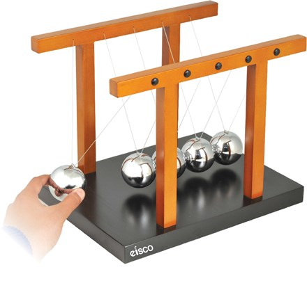 """Giant Newton's Cradle - Completely assembled, Size 12.25"""" x 9.5"""" x 9.7"""" (310 x 240 x 245mm), Ball diameter 50 mm - Eisco Labs"""