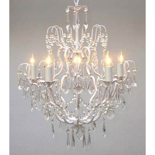 Gallery T40-422 Wrought Iron 5 Light 1 Tier Crystal Candle Style Chandelier with by Gallery