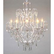 Gallery T40-422 White Wrought Iron 5 Light 1 Tier Crystal Candle Style Chandelier