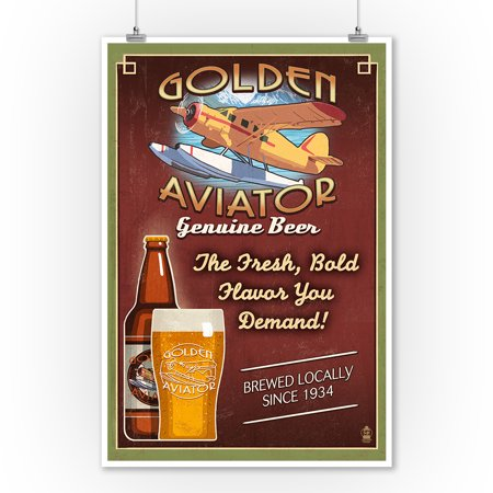 Vintage Aviator Wall (Aviator Beer - Vintage Sign - Lantern Press Artwork (9x12 Art Print, Wall Decor Travel Poster))