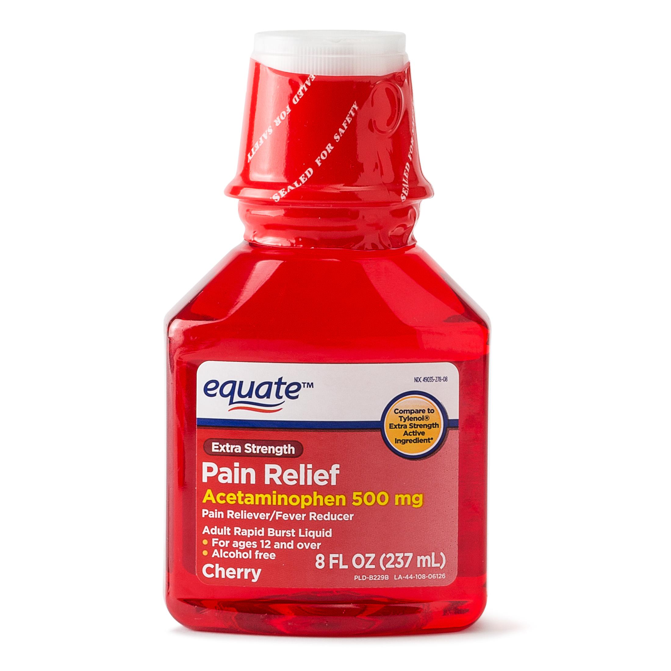 Equate Extra Strength Acetaminophen Cherry Flavor, 500 mg, 8 Oz