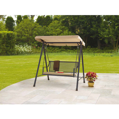 Mainstays Bellingham 2-Seat Wrought Iron Cushion Swing, Tan