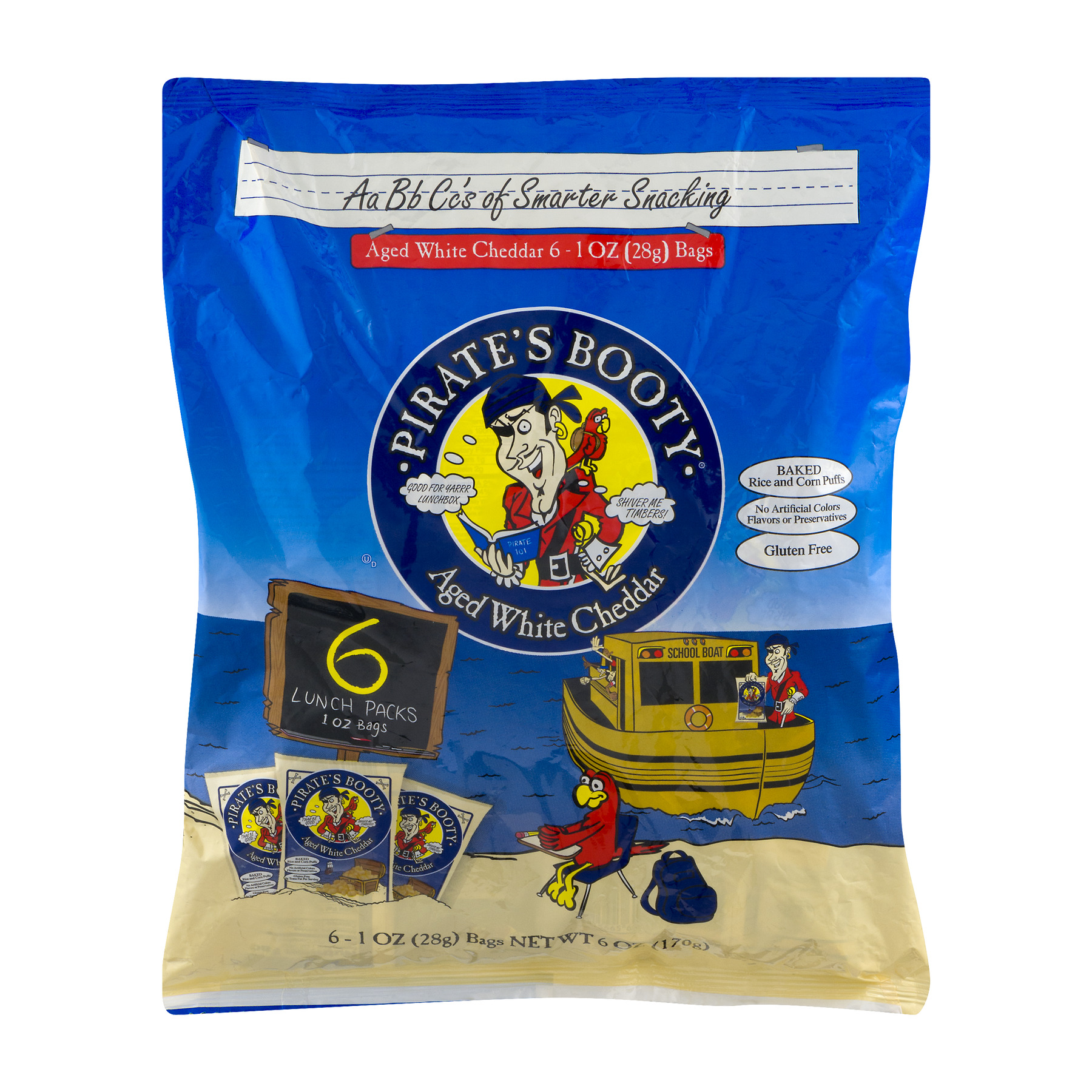Pirate's Booty Aged White Cheddar Bags, 1 oz, 6 count