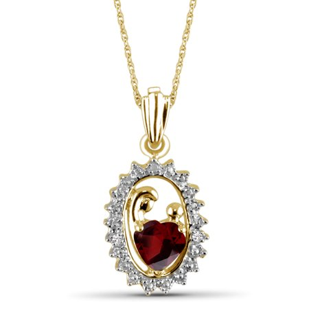 - 0.55 Carat T.G.W. Garnet Gemstone and White Diamond Accent Gold over Silver Mother and Child Pendant