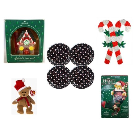 - Christmas Fun Gift Bundle [5 Piece] - Hallmark Sugarplum Cottage Lighted Ornament QLX7011 - Vintage 1960's Kage Co. Melted Popcorn Candy Cane -  Tin Plate/Dish 9