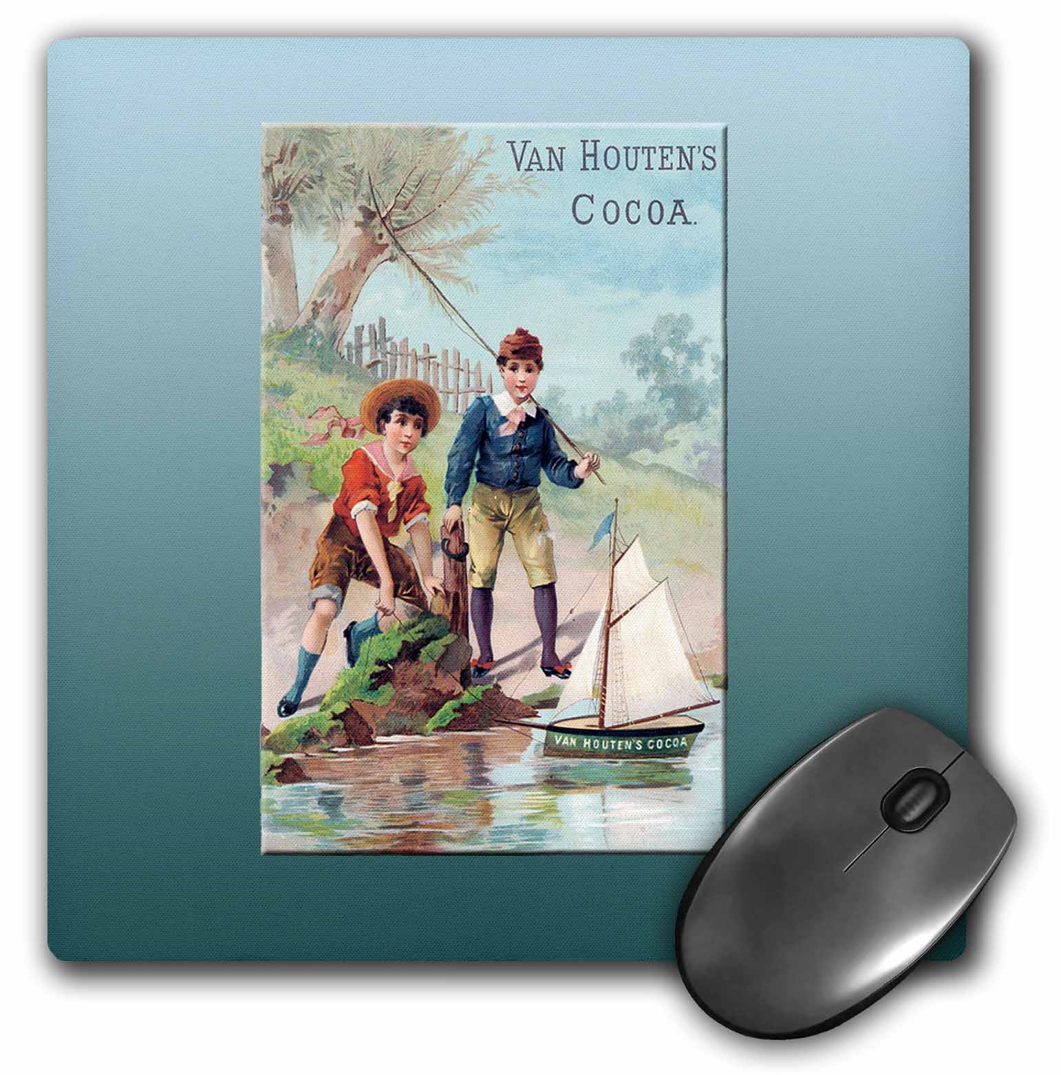3dRose Van Houtens Cocoa Little Boys with a Toy Sailboat, Mouse Pad, 8 by 8 inches by 3dRose