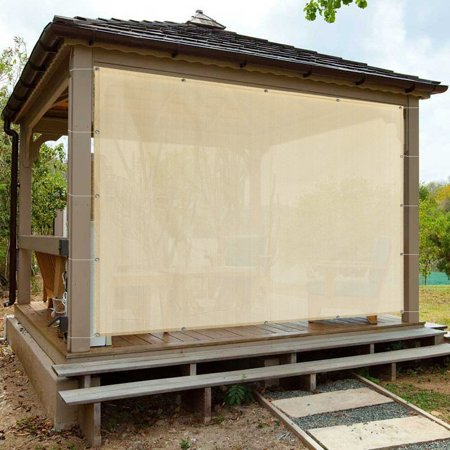 Bamboo Patio Shades - Alion Home Banha Beige Sun Shade Privacy Panel with Grommets on 4 Sides for Patio, Awning, Window, Pergola or Gazebo 8' x 6'
