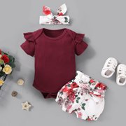 Infant Baby Girl Cute Solid Color Romper Bodysuit Top+ Short Pants Outfits Set