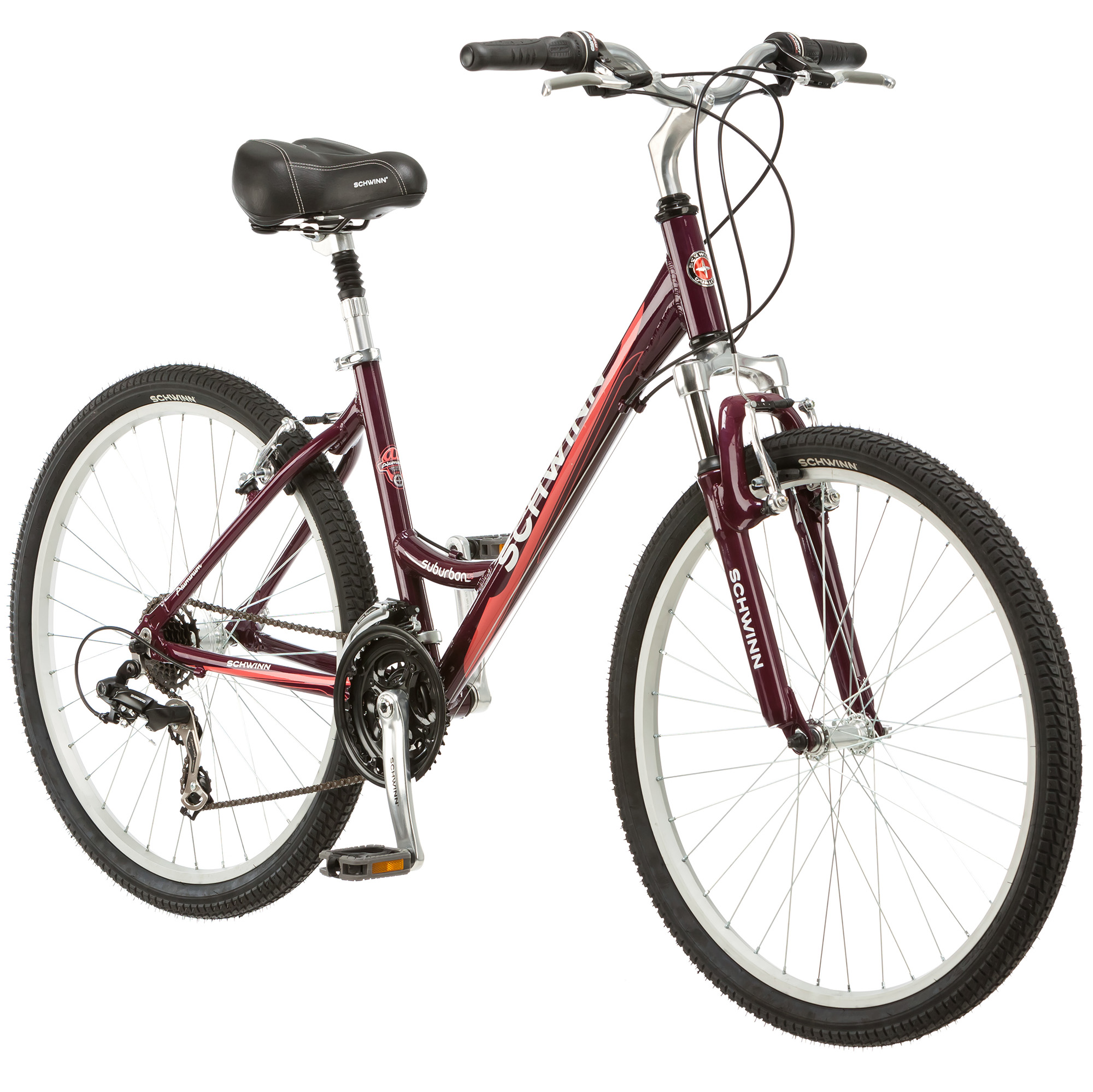 "Schwinn Womens 21 Speed Suburban CS 26"" Upright Comfort Cruiser Hybrid Bike"