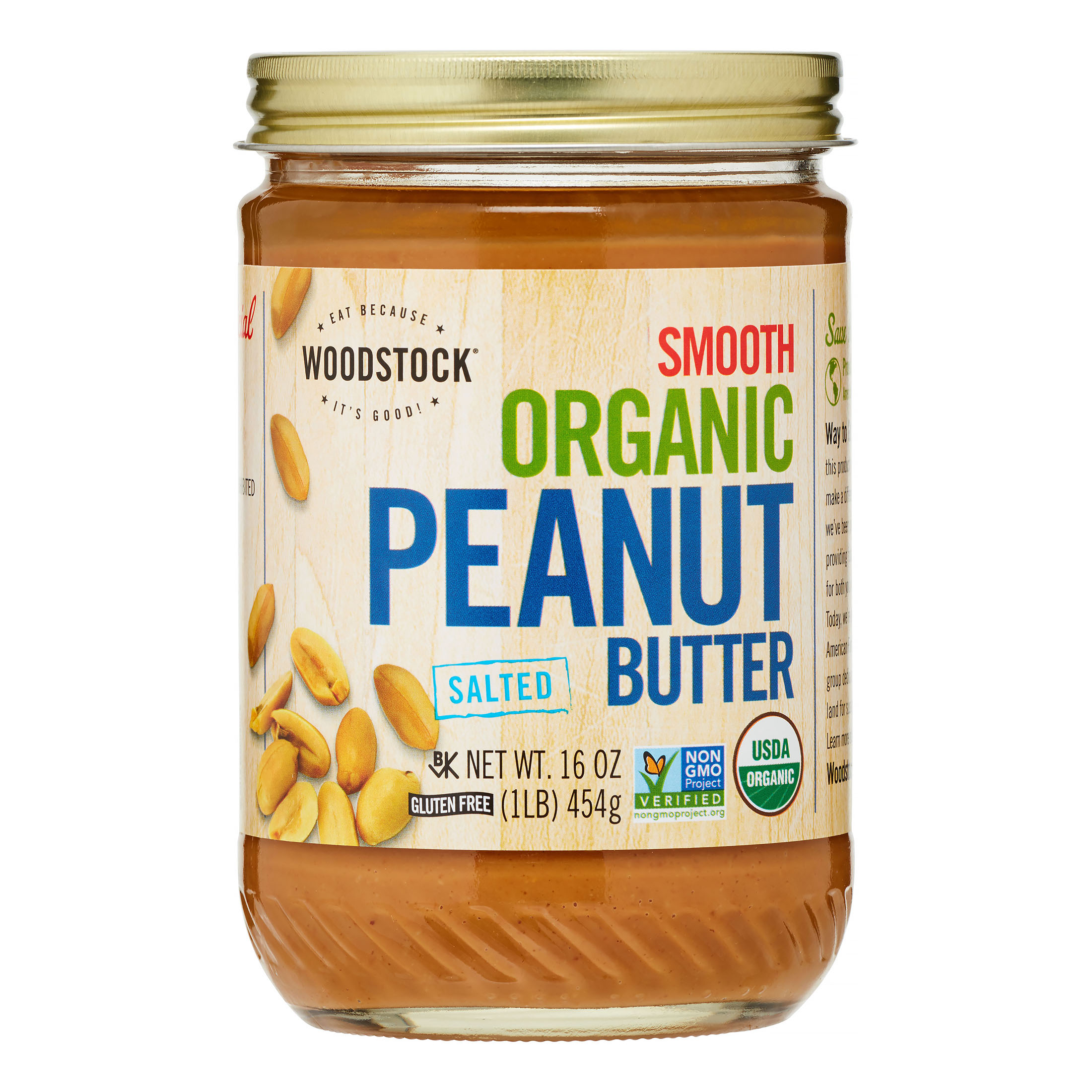 Woodstock Smooth Organic Peanut Butter, 16 Oz, 1 Count