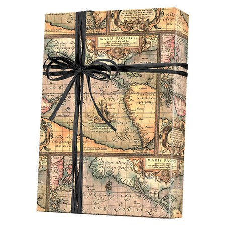 World Map Masculine Gift Wrapping 16ft Roll Paper - Disney Wrapping Paper