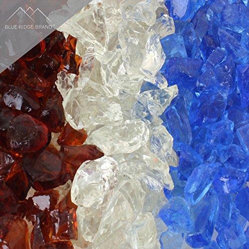 "Blue Ridge Brand™ Fire Pit Glass - Professional Grade Fire Pit Glass - 1/2"" Glass Rocks for Fire Pit and Landscaping"