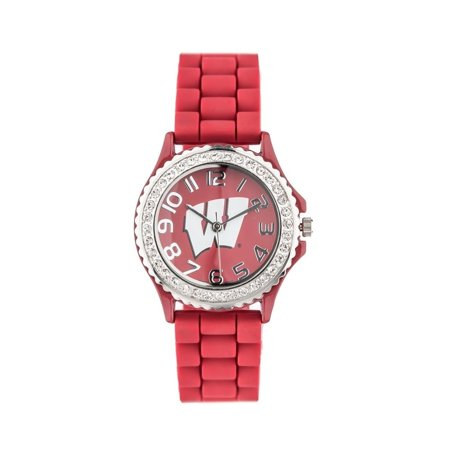 Wisconsin Badgers Licensed Collegiate Analog Watch with Crystals, Rubber Strap  and Japanese Movement 38mm - Red - One size ()
